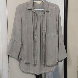 CLOTH & STONE gray button down top sz XS